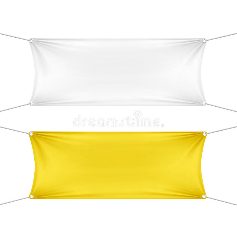 白色和黄色空白的空的水平的横幅 皇族释放例证