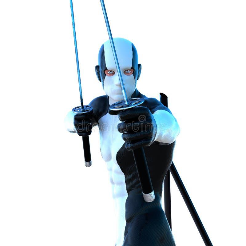 白色和黑超级衣服的一个年轻大力士 免版税图库摄影