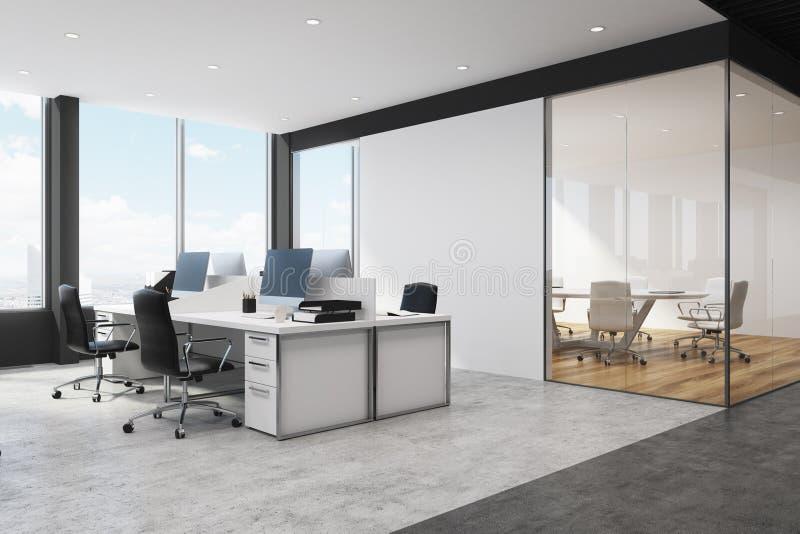 白色和黑露天场所办公室角落 向量例证