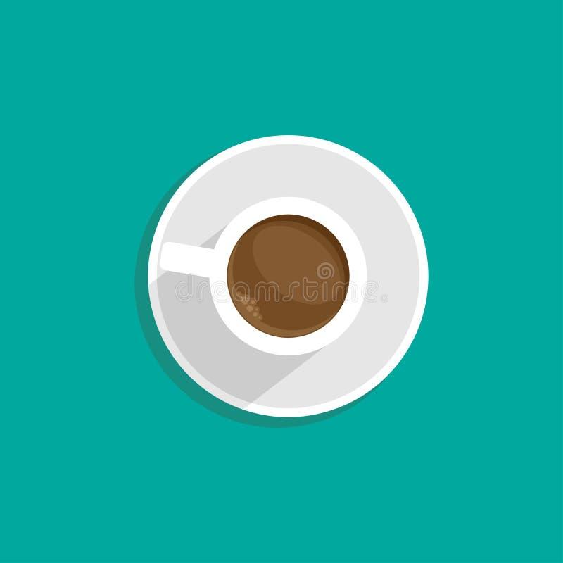 白色咖啡与阴影的 在蓝色隔绝的顶视图 咖啡休息例证 研究,写,教标志 库存例证