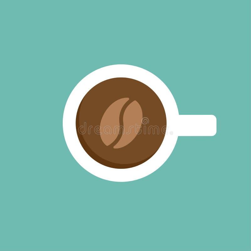 白色咖啡与阴影的 在蓝色隔绝的顶视图 背景中断咖啡新月形面包杯子甜点 库存例证