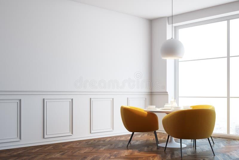 白色咖啡馆角落,橙色椅子关闭  向量例证