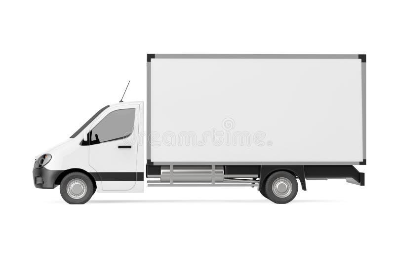 白色商业工业货物送货车卡车 3D renderi 库存例证