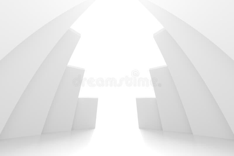 白色圆大厦 现代几何墙纸 未来派技术设计 皇族释放例证