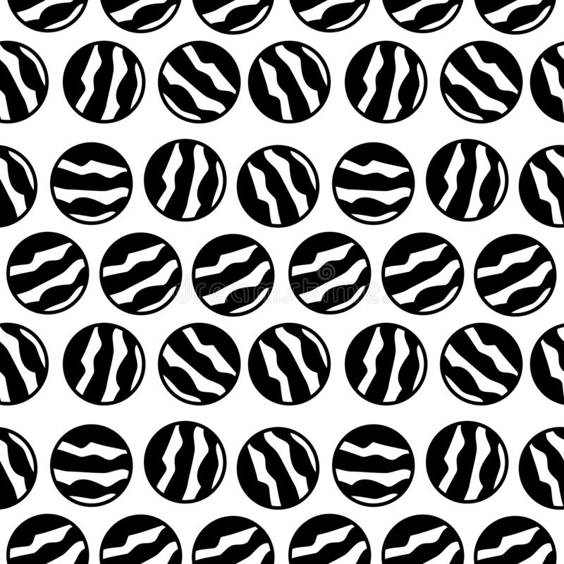 白色圆点设计中的无缝黑白图案 皇族释放例证