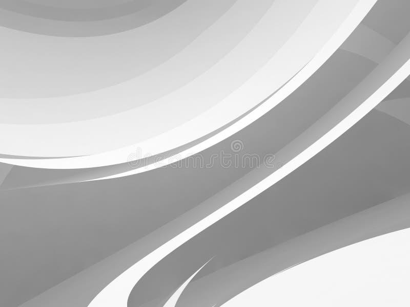 白色圆的建筑3d背景 皇族释放例证