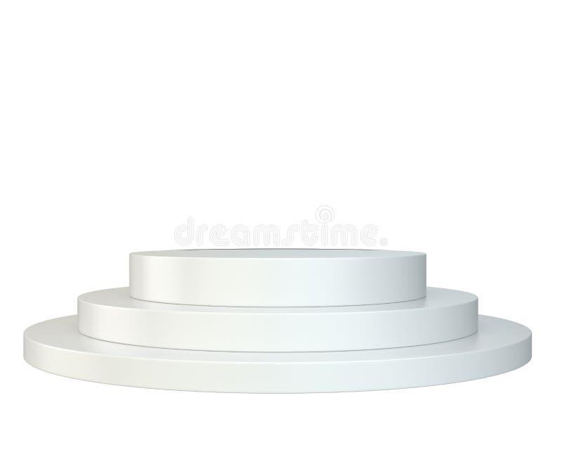 白色圆的指挥台 垫座 场面 免版税库存图片
