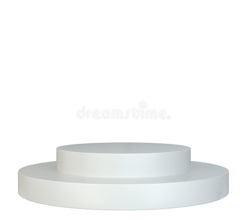 白色圆的指挥台 垫座 场面 库存图片