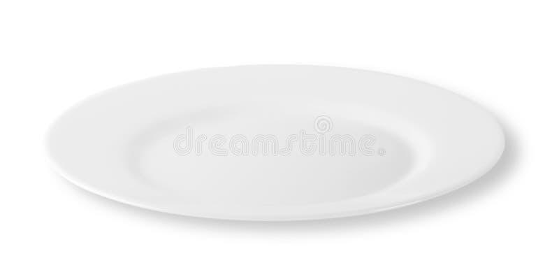 白色圆的板材 免版税库存照片