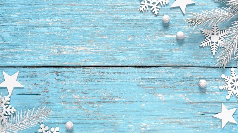 白色圣诞节快乐杉树分支和装饰 库存图片