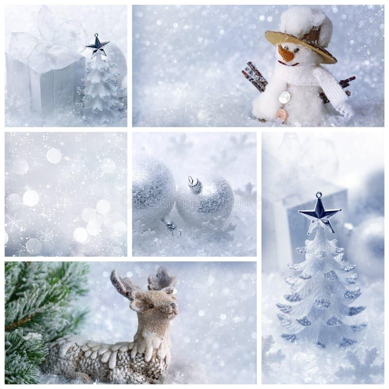 白色圣诞节拼贴画 库存照片