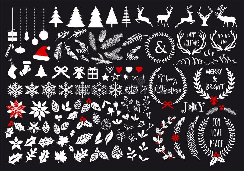 白色圣诞节,传染媒介集合 库存例证