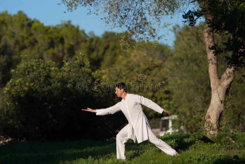 白色在公园打扮了实践太极拳的人 免版税库存图片