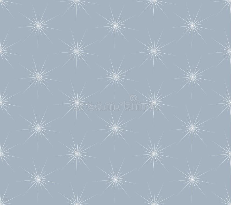 白色在灰色背景的雪花无缝的样式 皇族释放例证