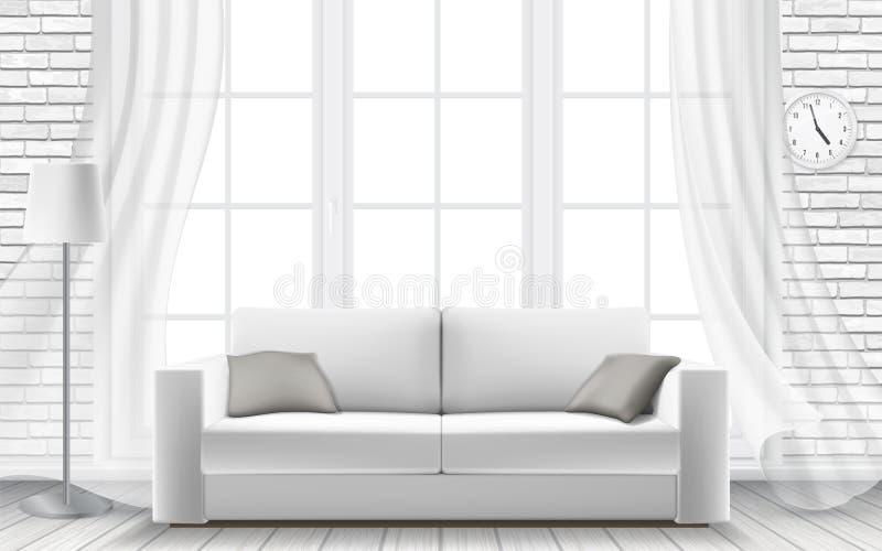 白色在砖墙的沙发大窗口 向量例证