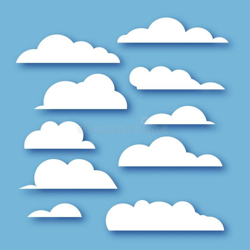白色在纸的云彩汇集削减了在蓝色天堂的样式 皇族释放例证
