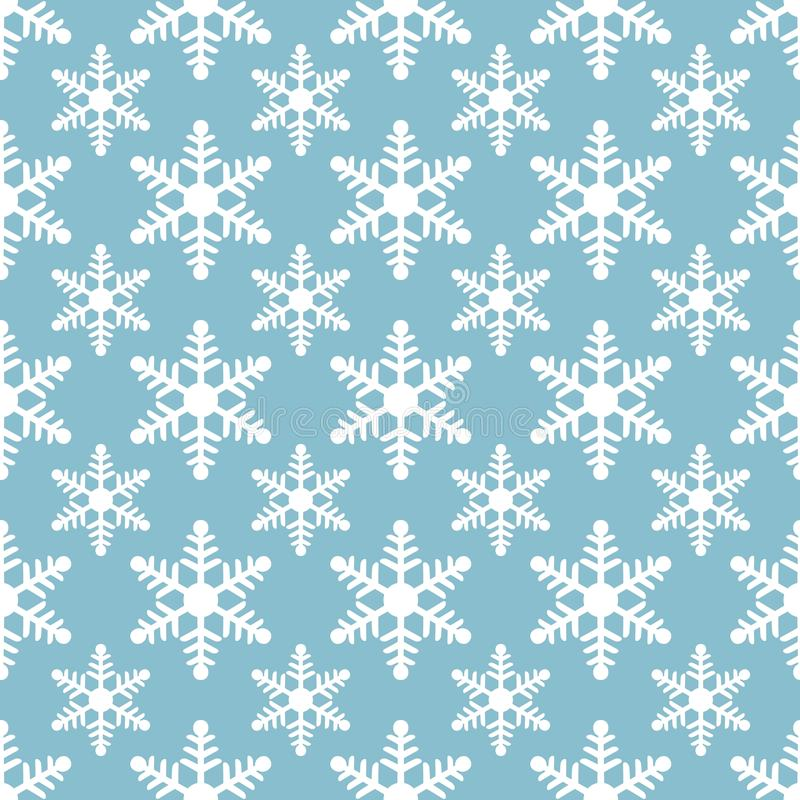白色在蓝色背景的雪花无缝的样式 皇族释放例证