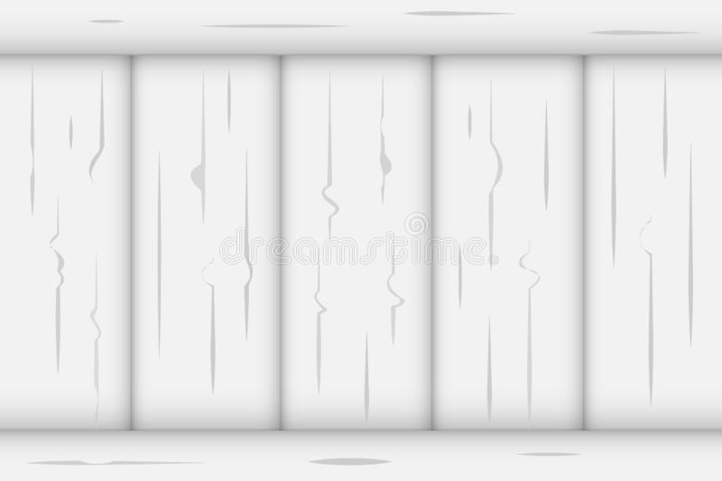 白色垂直的篱芭墙壁森林纹理有顶面和底下水平的在顶端边界背景 库存例证