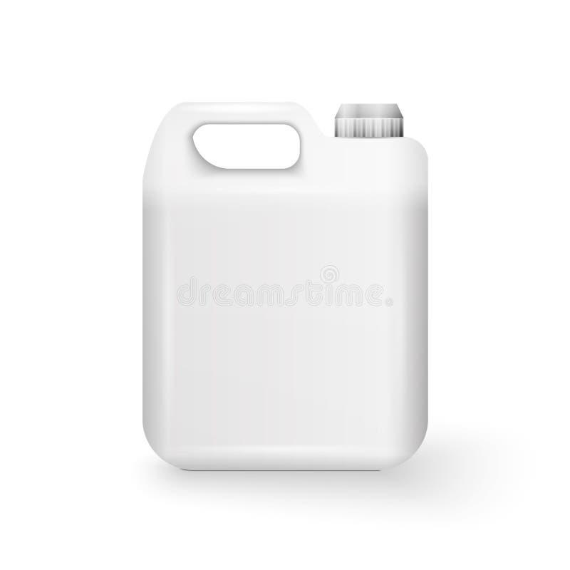 白色塑料五加仑装之汽油罐 向量例证