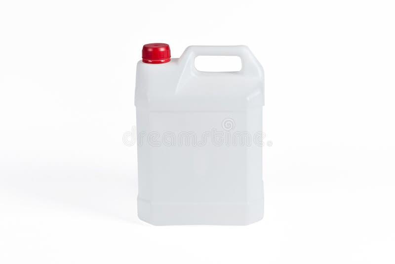 白色塑料五加仑装之汽油罐 库存图片
