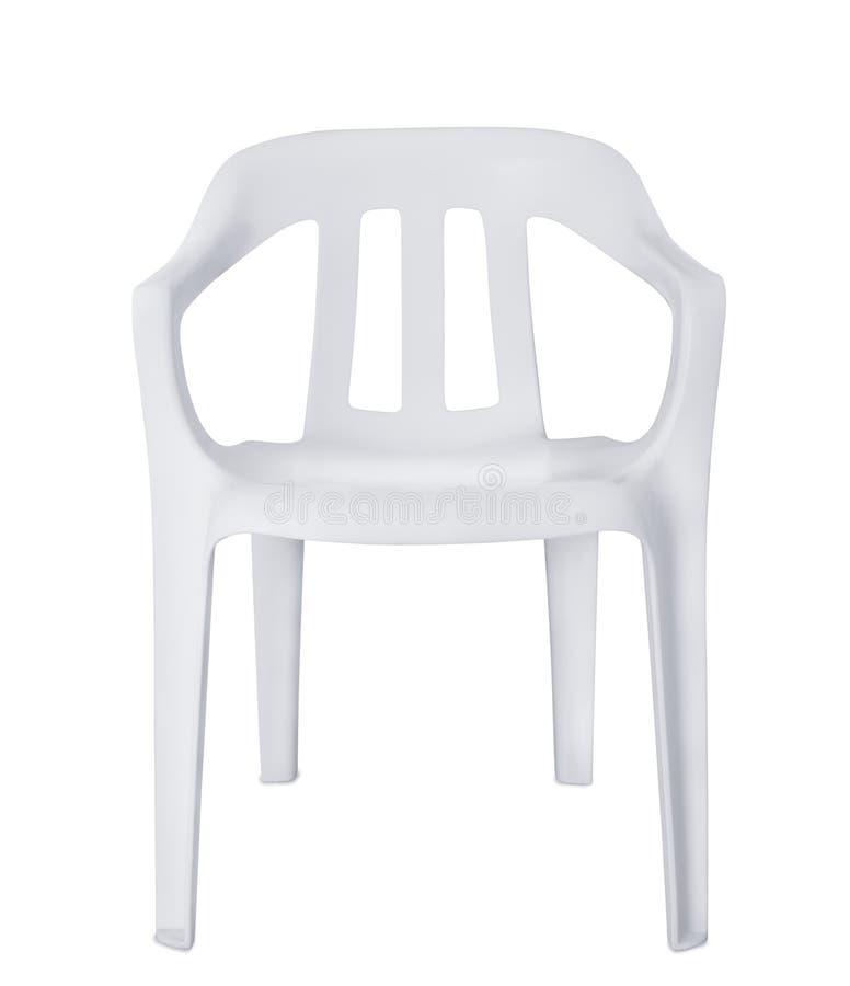 白色塑料椅子正面图  库存照片