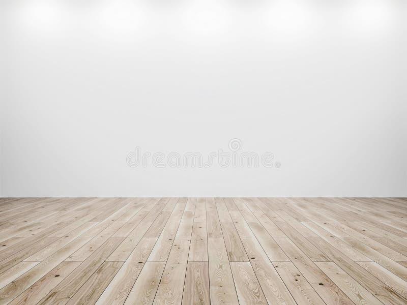 白色墙壁和木头地板背景 图库摄影