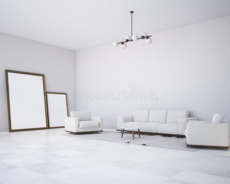 白色墙壁客厅,白色沙发,海报 向量例证