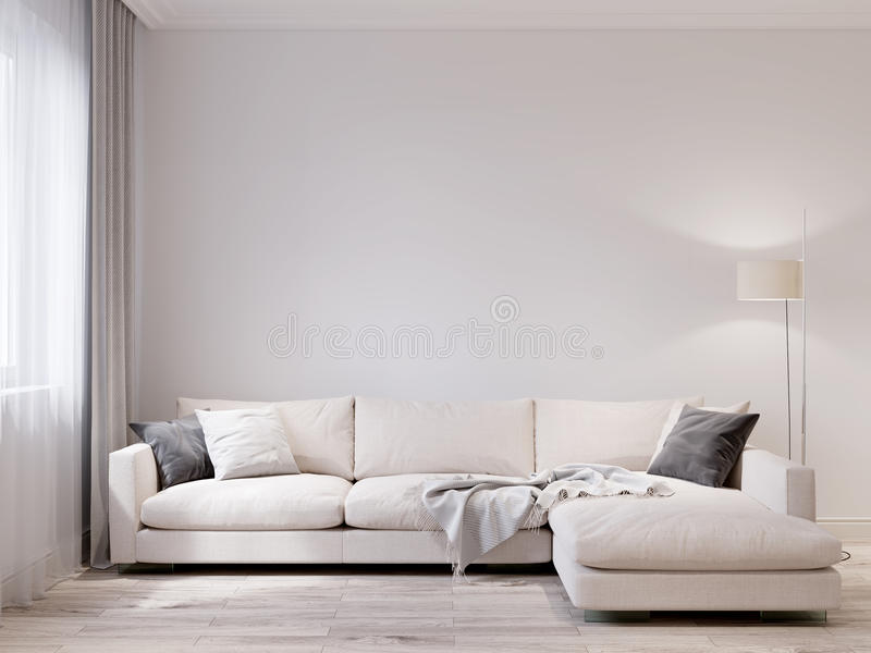 白色墙壁现代客厅内部的嘲笑 免版税库存图片