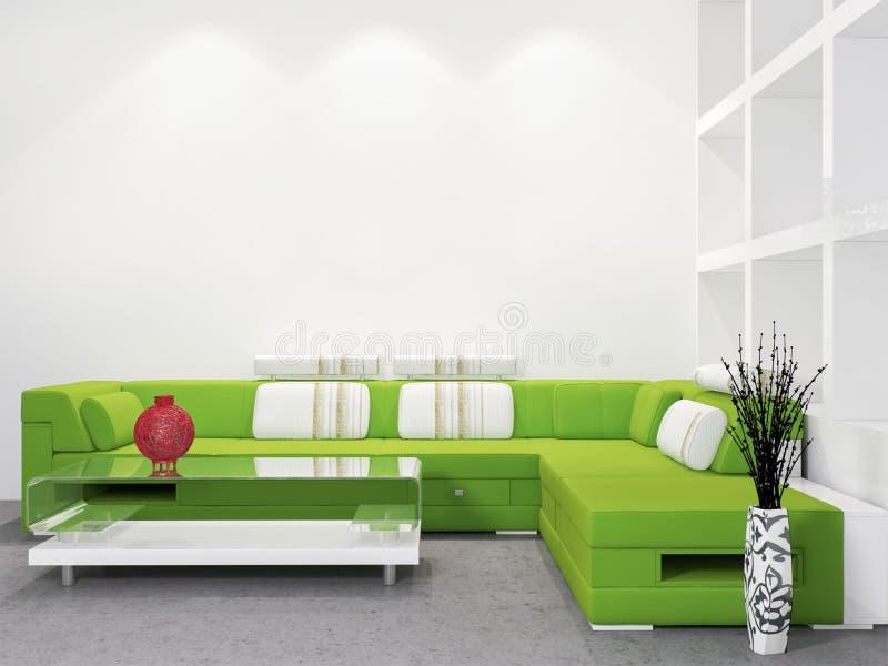 白色墙壁现代客厅内部的嘲笑 库存例证