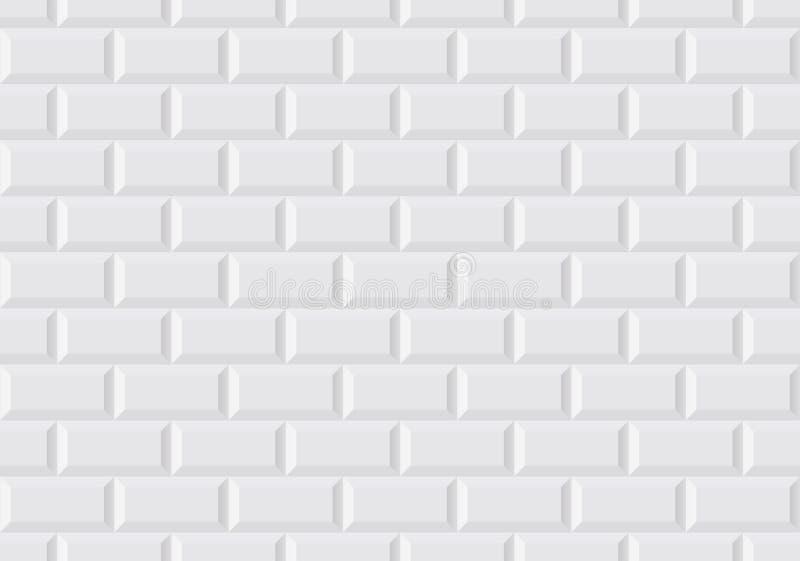 白色墙壁瓦片在巴黎人地铁喜欢 库存例证