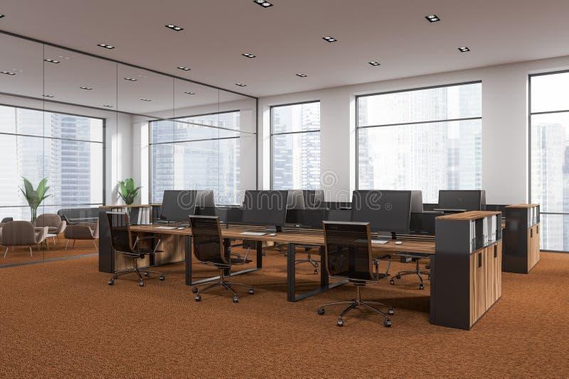 白色墙壁露天场所办公室角落,棕色地板 皇族释放例证