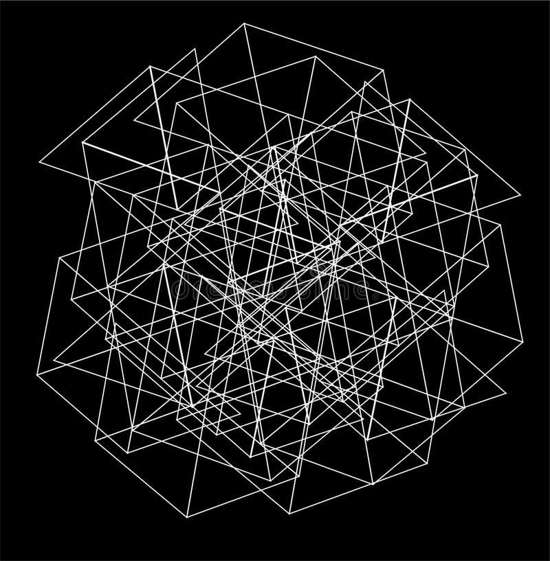 白色墙纸和抽象背景的三角六角网络连接形状 向量例证
