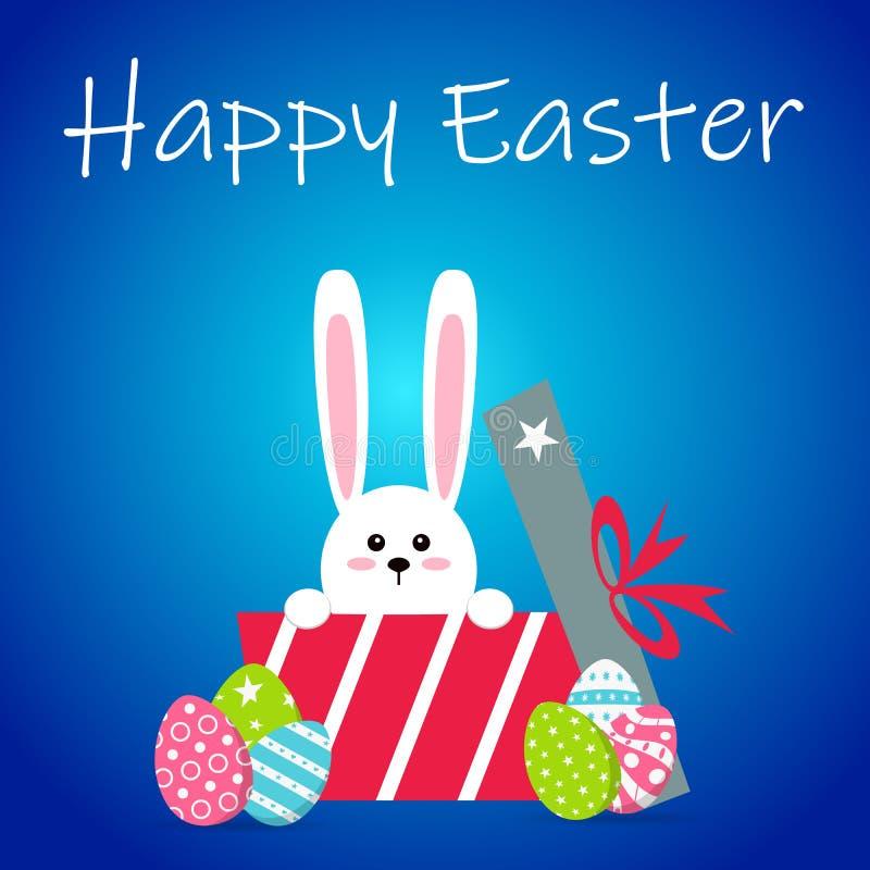 白色复活节兔子用鸡蛋 在平的样式的滑稽的兔宝宝 兔宝宝复活节 在蓝色冬天背景 五颜六色的复活节快乐 向量例证