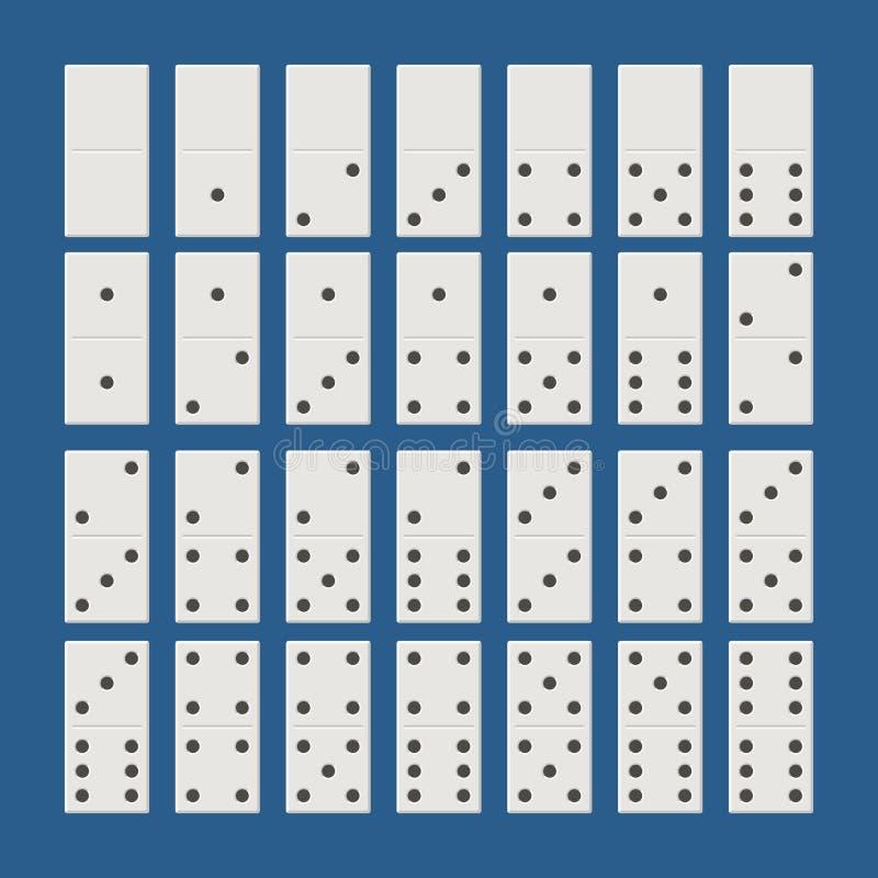 白色多米诺全套 在平的样式的经典比赛多米诺 多米诺骨头设置了28个片断 向量例证