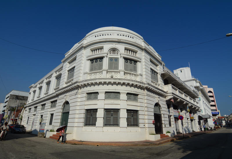 白色大厦在乔治城在槟榔岛,马来西亚 库存照片