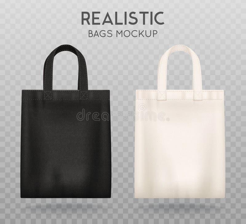 黑白色大手提袋透明背景 皇族释放例证