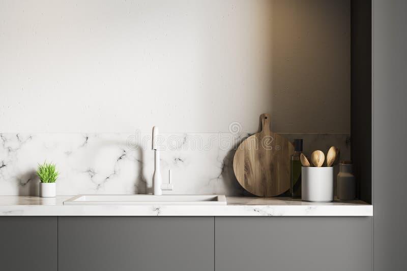 白色大理石厨房水槽 库存例证