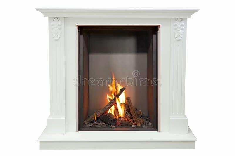 白色大理石灼烧的经典壁炉  查出在白色 库存图片