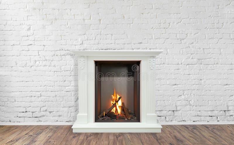 白色大理石灼烧的经典壁炉  背景的空的客厅 免版税库存图片