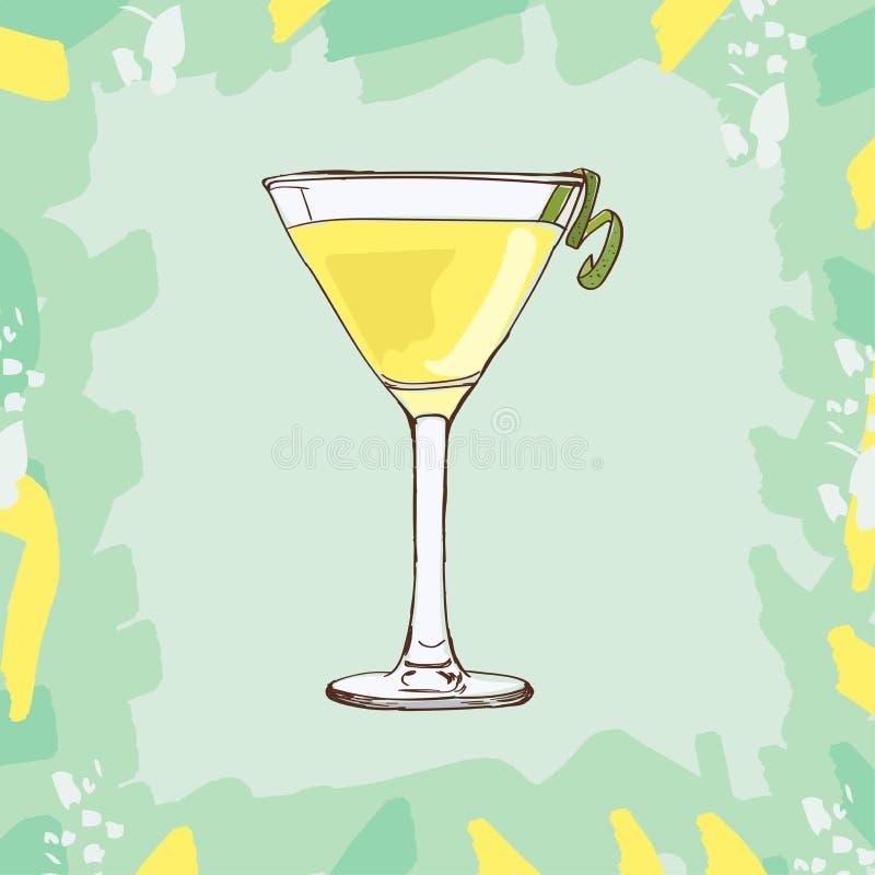 白色夫人鸡尾酒例证 酒精经典酒吧饮料手拉的传染媒介 流行艺术 向量例证