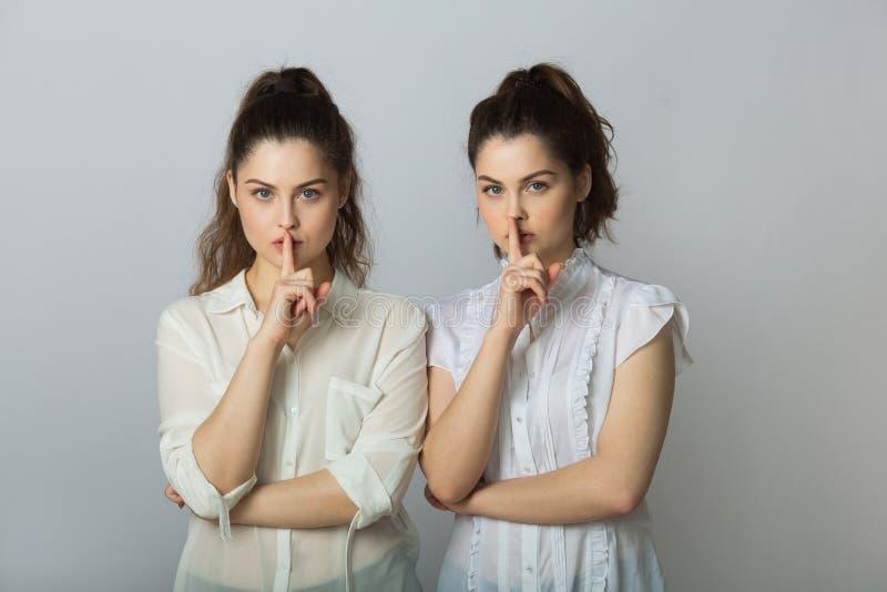 白色女衬衫的两个美丽的姐妹双女孩 库存照片
