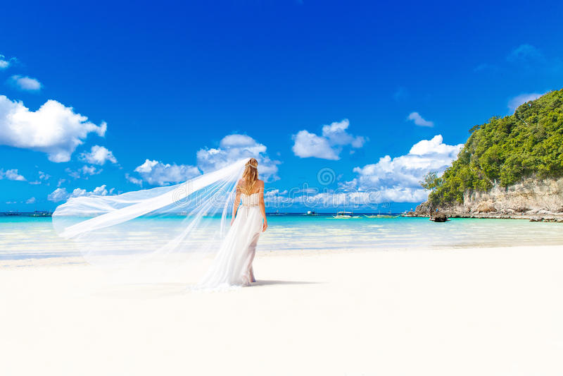 白色婚礼礼服的美丽的白肤金发的新娘与大长的白色 库存照片