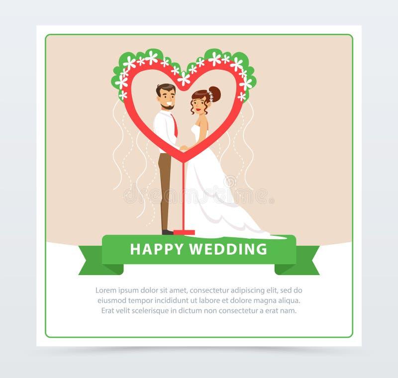 白色婚礼礼服的黑衣服的新娘和新郎在以心脏的形式礼仪曲拱,愉快的婚礼横幅附近 皇族释放例证