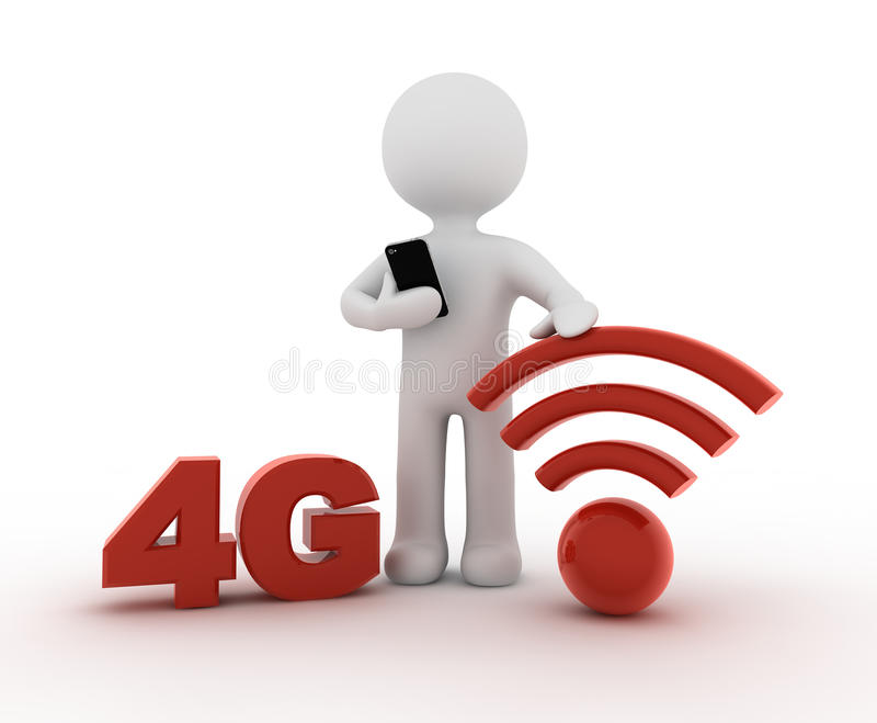 白色字符和4G 向量例证
