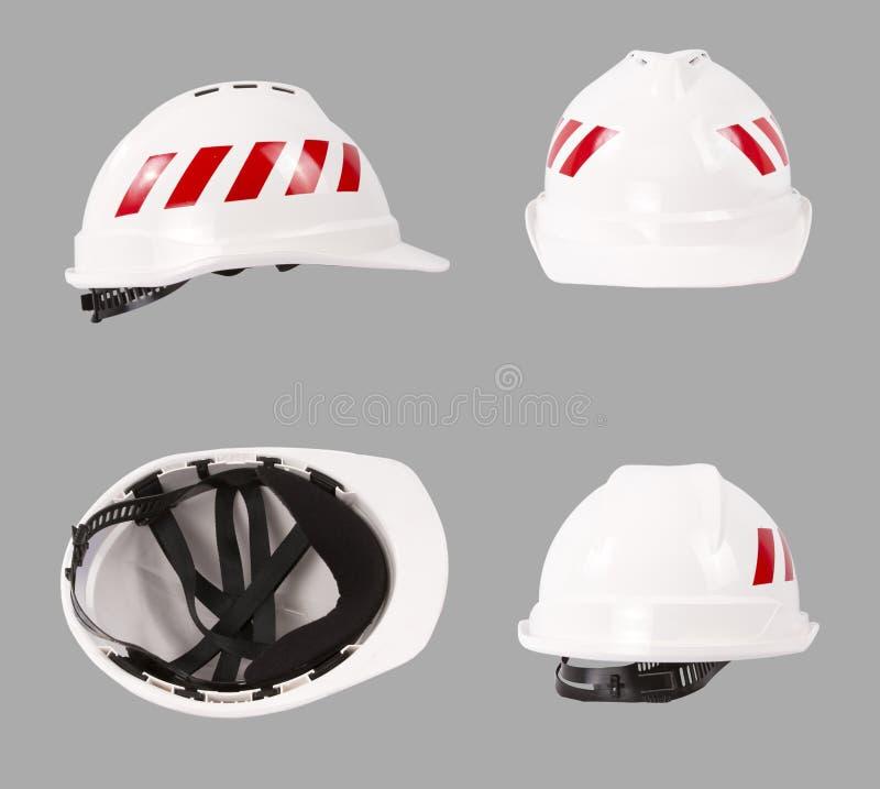 白色安全帽 建筑安全帽 图库摄影