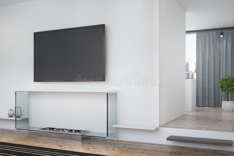 白色客厅、电视和海报,角落 向量例证