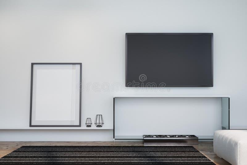 白色客厅、电视和海报 库存例证