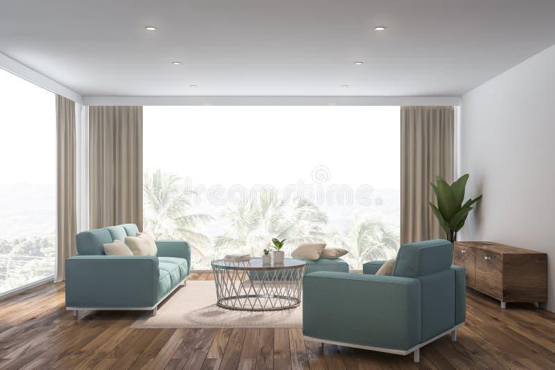 白色客厅内部,蓝色沙发 向量例证