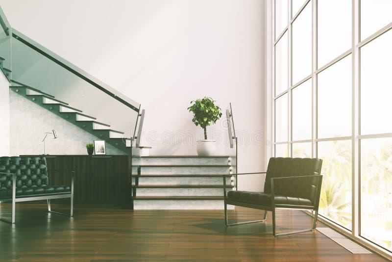 白色客厅,台阶,被定调子的扶手椅子 皇族释放例证