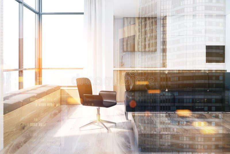 白色客厅,方形的桌,被定调子的椅子 向量例证